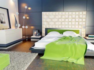 Ein helles Schlafzimmer mit grünen Deko-Elementen