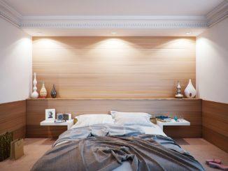 Helle freundliches Schlafzimmer im Braunton.